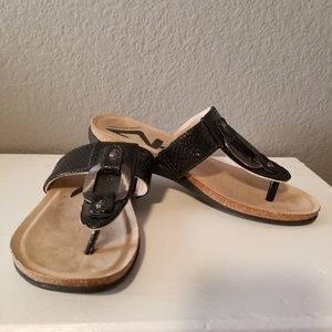 Anne Klein Sport black patent leather sandals